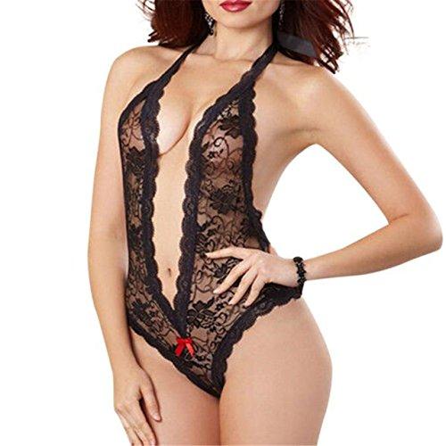LHWY Damen Plus Größe Spitze Babydoll Unterwäsche Dessous Kleid Nachtwäsche (XL, Schwarz) (Männer Plus Größe Kostüme)