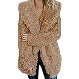 VECDY Damen Winterjacke, Schwarzer Freitag Specials Damen wärmen künstliche Wolle Mantel Jacke Revers Winter Oberbekleidung Plüsch Mantel Einfarbig Tops Warmer Mantel