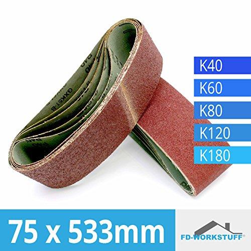10 Stück Premium 75x533 Schleifbänder MIX je 2 x Korn 40,60,80,120,180 gemischt I Schleifband I Bandschleifer 75 x 533 mm