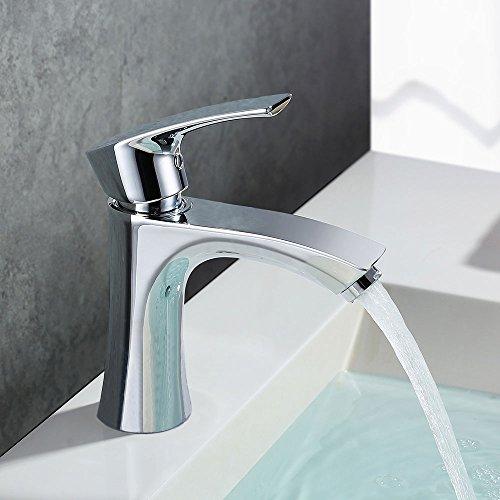 Homelody Grifo Lavabo Grifo Baño Diseño Moderno Alta Calidad Monomando Lavabo Grifo de Cuenca Griferia Lavabo y Baño Aireador Desmontable Ahorro del Agua