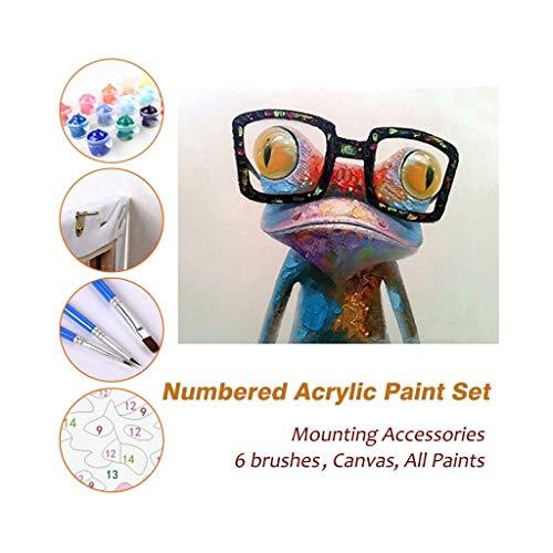 Malen nach Zahlen Kits für Kinder Erwachsene Anfänger Jugendliche Kiefer gerahmt DIY Öl Acryl Malerei Malsets, Herr Frosch mit Brille 520 ( Farbe : With Pine Frame , größe : 600mm x 750mm )