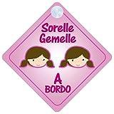 Sorelle Gemelle a Bordo adesivo bimbo / bambina / neonato a bordo adesivo macchina, bimbi, bambini, famiglia