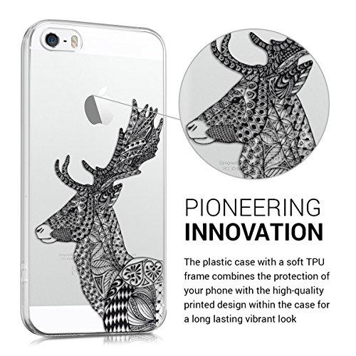 kwmobile Hülle für Apple iPhone SE / 5 / 5S - TPU Silikon Backcover Case Handy Schutzhülle - Cover klar Blume Kugel Design Pink Violett Transparent Schwarz Weiß ZHI