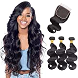 Brazilian Body Wave Human Hair 3 Bundles with Closure 10A 100% Unprocessed Virgin Human Hair Bundles with Free Part Closure (14 16 18+14 Inches)