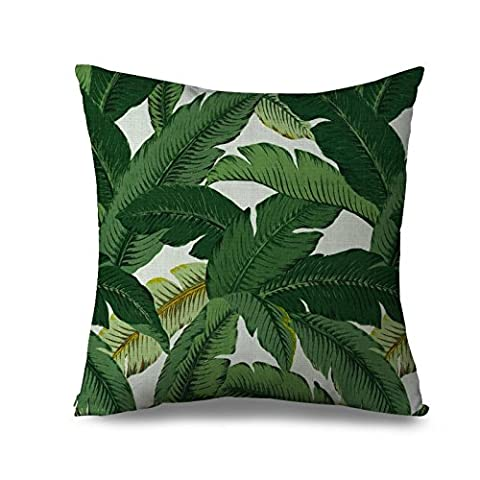 Green Canvas Pillow Case Trendy Tropical Palm Tree Decor Throw Cushion Cover Case for Sofa Home Decorative Square Pillow Cover with Zippers Standard Size 18 x 18