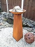 EDELROST - Stele inkl. Schale - Säule Skulptur Pflanzsäule 85 cm Garten Eisen Rost