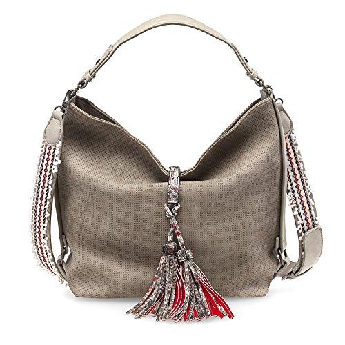 TAMARIS TANJA Damen Handtasche, Hobo Bag, Henkeltasche, 40x32x14 cm (B x H x T), 2 Farben: braun comb. oder pepper comb. Pepper Comb. (Beige / Braun)