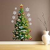ufengke Buon Natale Albero di Natale Fiocco di Neve Palle di Natale Adesivi Murali Removibile Adesivi Da Parete Verde