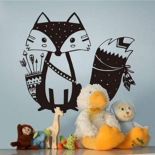 Fagreters tribal fox animal wall sticker cute woodland fox wall decal for kids room decoration nursery wall art tattoo vinyl murals 56x47cm