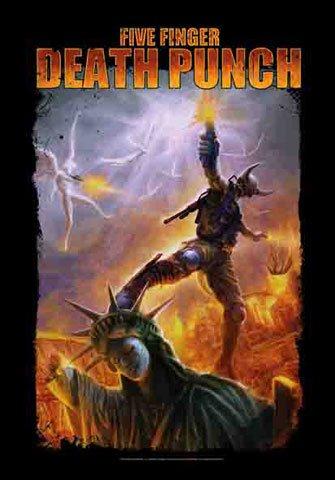 Five Finger Death Punch-Liberty-Poster Bandiera Bandiera-100% poliestere-Dimensioni 75x 110cm