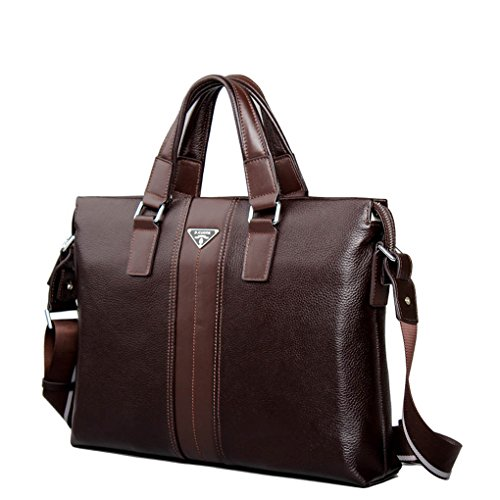 KAXIDY Leder Aktentasche Collegetasche Umhängetasche Aktenkoffer Businesstaschen (Kaffee) Kaffee