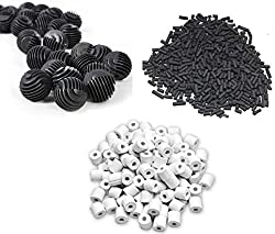 COLOURFUL AQUARIUM Aquarium Fish Tank 500g Activated Carbon + 500g ceramic rings + 22 Bio Balls