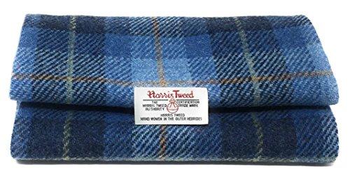 Harris Tweed Authentisches Traditionelles Stoff Blauer Tartan und Braun Herringbone 100% Reine Wolle mit Authentizität Etiketten (Blau, 25 x 30cm) -