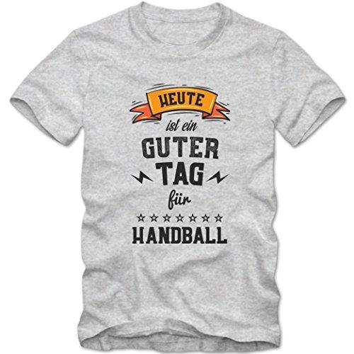 Heute ist ein guter Tag für Handball Premium T-Shirt   HobbyShirt   Sport   Schlagwurf   Herren   Shirt © Shirt Happenz Graumeliert (Grey Melange L190)