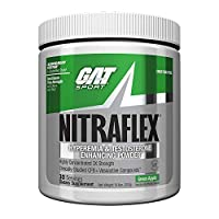 ‏‪GAT - NITRAFLEX - Testosterone Boosting Powder, Increases Blood Flow, Boosts Strength and Energy, Improves Exercise Performance, Creatine-Free (Green Apple, 30 Servings)‬‏