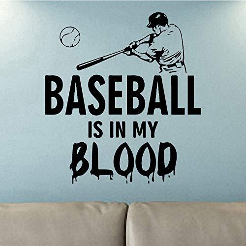 BFMBCH Baseball Player Muster Wandaufkleber Schlafzimmer Dekoration Abnehmbare Briefgestaltung Wandaufkleber Vinyl Wasserdichte Wandaufkleber 43 cm X 47 cm