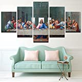 Peacock Jewels [LARGE] Premium Quality Canvas Printed Wall Art Poster 5 Pieces/5 Pannel Wall Decor The Last Supper Painting, Home Decor Pictures - With Wooden Frame