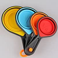 New Durable Strong Plastic/ Silicone/ Stainless Steel Measuring Spoons Set Teaspoon Measuring Cups Baking Cooking Utensil (Silicone, Colorful) LS-B