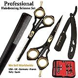 Saaqaans SQKIT Set de Ciseaux Coiffure Professionnel - Haute Qualité Ciseaux de Coiffeur - Perfectionnez pour la Coupe de Cheveux élégante, Garniture votre Barbe et Moustache