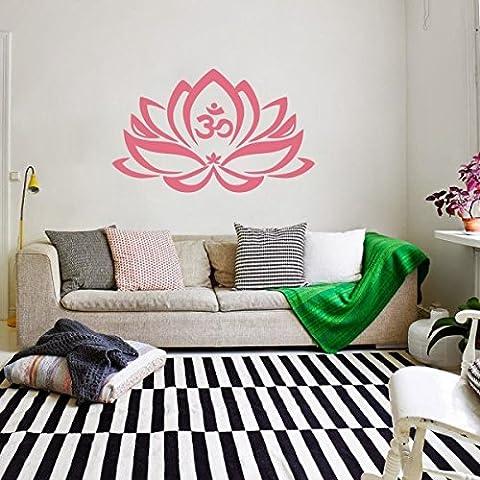 Wand-Tattoo Lotus-Blume mit Om-Zeichen, Yoga, Vinyl, Mandala-Kunst, Vinyl, Pink - Soft Pink, 35