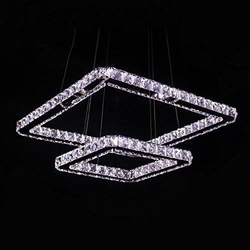 Platz 20 Licht Kronleuchter (LOCO 50cm(20 inch)LED Kristall-Kronleuchter, Modern Platz Edelstahl Überzug Modern Home Leuchte Decke)
