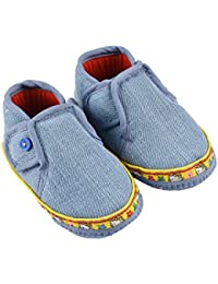 Infano Navy Blue Button Style Cotton Baby Shoes (6-12 Months,1 Pair)