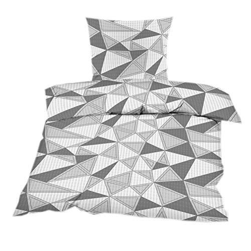 Seersucker Bettwäsche 2 TLG. 135x200 mit Reißverschluss aus 100% Baumwolle in Grau Anthrazit Dreieck Muster