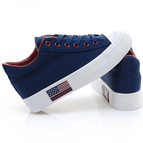 Oasap Women's Low Top Lace-up Height Increasing Canvas Sneakers Blue