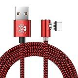 Câble USB C magnétique 3M avec indicateur LED Nylon tressé Rond Câble de Charge...