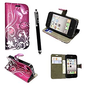 FOR APPLE IPHONE 4 4S VARIOUS PU LEATHER MAGNETIC FLIP CASE COVER POUCH + FREE STYLUS (Ultra Butterfly Purple Book Flip)