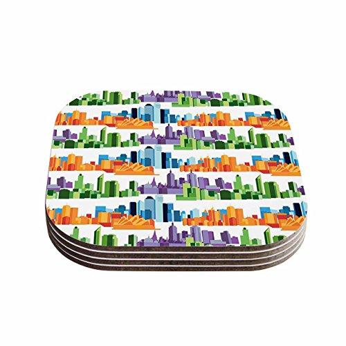 """Kess eigene Stephanie VAETH""""Australian Städte weiß orange"""" Untersetzer (4Stück), 10,2x 10,2cm Multicolor"""