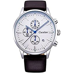 Men's Quartz Soft Leather Band Stainless Steel Case Waterproof Business Wristwatch