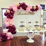 PuTwo Luftballons 70 Stück Party Luftballons Geburtstag Luftballons Latex Luftballons und Konfetti Luftballons Party Deko für Geburtstag Hochzeit Weihnachten Baby Shower - Weinrot & Babyrosa & Golden