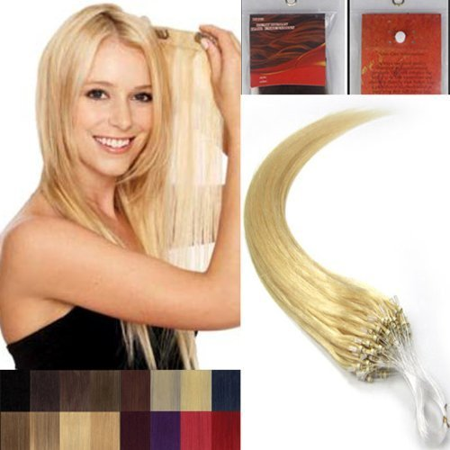 40.6cm Lisse Boucles Micro Anneau Perles Pointu Cheveux Humains Extensions 100 s 613 Blond Clair Femmes beauté Hairsalon Style Motif 0,4 g/s