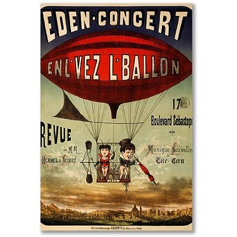 poster art print: dirigibile palloncino Basket Francia Eden Concerto Zeppelin antico Circus (formato maxi–61x 91,5, Carta satinata semi-lucida, regalo Arte Home Decor decorativo)