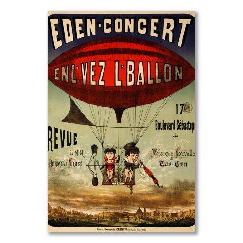 poster art print: dirigibile palloncino Basket Francia Eden Concerto Zeppelin antico Circus (A2Maxi-40,7x 61/16x 24in, Carta satinata semi-lucida, regalo Arte Home Decor decorativo)