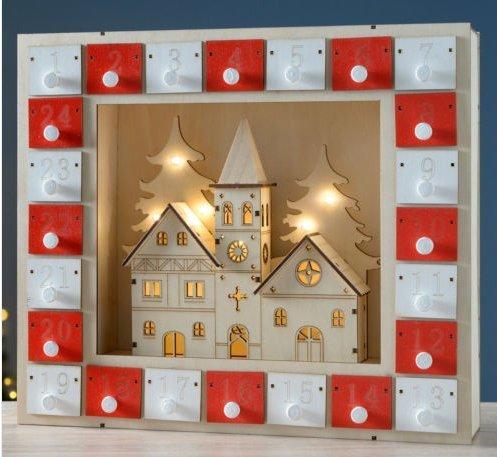 Traditionell Weihnachten Szene Aufleuchtend Holz Adventskalender Mit warmes weiß LED Lampen Echt Schubladen Und Kirche Dekoration Dorf Batterienbetrieben