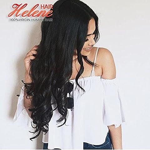 Helene Hair Encantador Alta Densidad suelta la onda Peluca Brasileño Virgen Cabello Humano Cabello frente del cordón Pelucas con el pelo del bebé para Mujer 150% Densidad ( 20 Pulgada