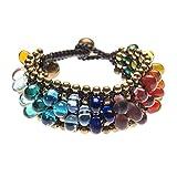 81stgeneration Women's Brass Gold Tone Rainbow Multi Colored Glass Ethnic Bracelet, 20 cm