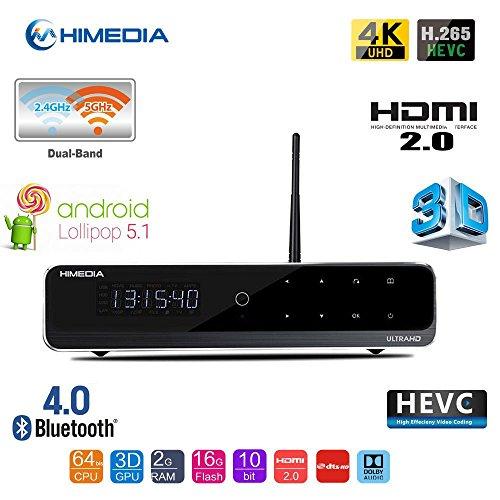 Himedia Q10 Pro 4k (Ultra HD) 3d Media Player Android 5.1 Smart TV Box Mini PC 2GB/16GB Bluetooth 4.0 Dual Band WiFi with 3.5