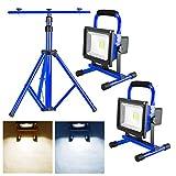 MCTECH 20W Blau Akku LED Baustrahler Warmweiß Floodlight IP65 mit Teleskop-Stativ (Stativ+2*20W Warmweiß)