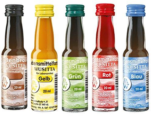 Wusitta Lebensmittelfarben Set - Set mit Lebensmittelfarben für´s Backen - 5-teilig/1St