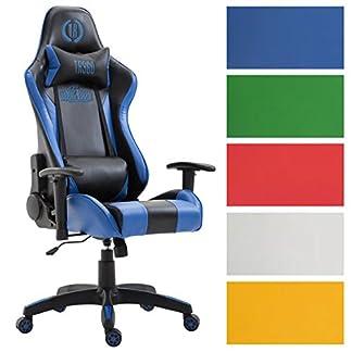 CLP Silla de oficina Stark piel sintética, silla Gaming, 136kg capacidad de carga de max, silla de chef con/sin reposapiés, mecanismo de inclinación