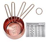 Iindes - Juego de 6 tazas medidoras de cobre y acero inoxidable para hornear ingredientes grabados de 200 ml, 125 ml, 80 ml, 60 ml con tabla de conversión de medición magnética