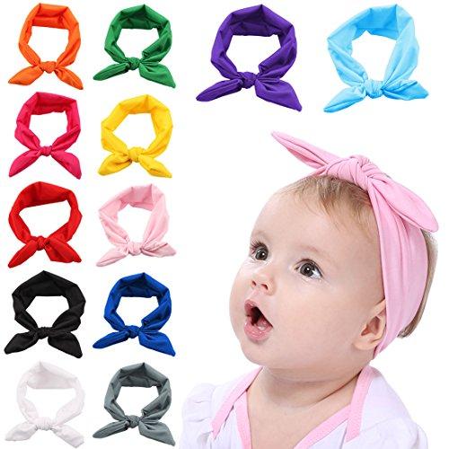 Fascigirl Baby Stirnband, 12 Stück Bogen Headwrap Elastisches Kaninchen Ohr Hairband für Neugeborenes Kleinkind