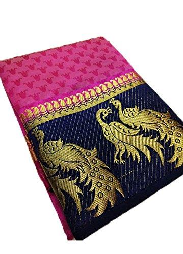 Nirja Creation Silk Cotton Saree With Blouse Piece (Nc-Od-Dblepeckok-3_Pink_Free Size)