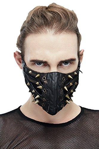 Devil Fashion Steampunk Gothic Nicht-Maske Halbe Gesichtsmaske PU-Leder Schwarz Batman Maske für Unisex (Schwarz (Rub The Brassy))
