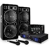 """DJ Set DJ-20.1"""" - Pack Sono Pro, Set Sono, Set Enceintes, Table de mixage, Amplificateur PA, Subwoofers Basses 12"""", 2000 w, A"""