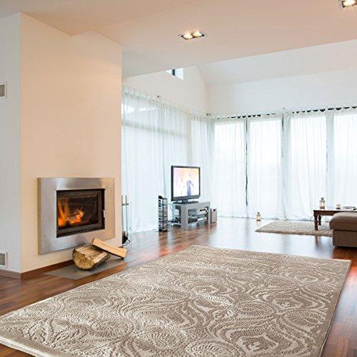 mynes Home Teppich Beige Ornamente Vintage Versace Design Wohnzimmer Velour hochwertig (120 x 170 cm) (Teppich Blumen Moderne)
