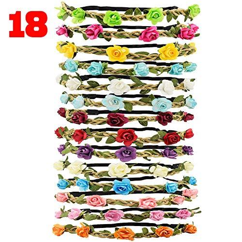 Tomkity 18 Pezzi Multicolore Ghirlande Fasce del Fiori con Nastro Elastico Regolabile per Le Ragazze Una Festa